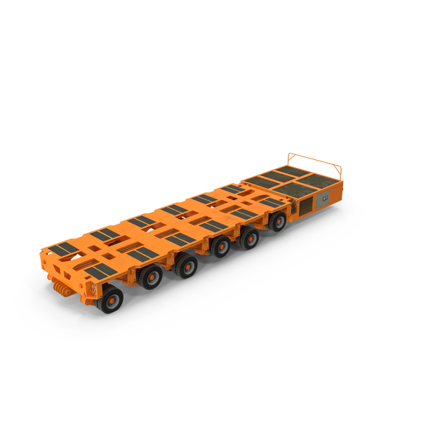 6 Axle Lines Modular Transporter Goldhofer Orange PNG & PSD Images