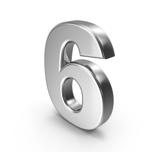 Number: 6 Chrome PNG & PSD Images