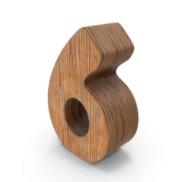 6 Wooden Number PNG & PSD Images
