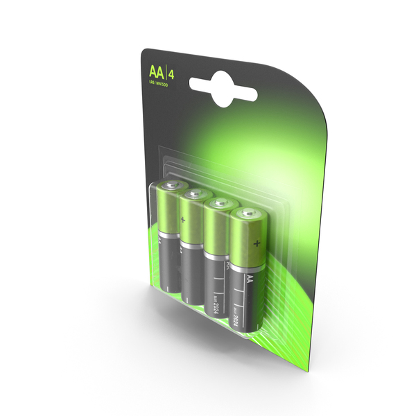 AA 4-Batteries Package PNG & PSD Images