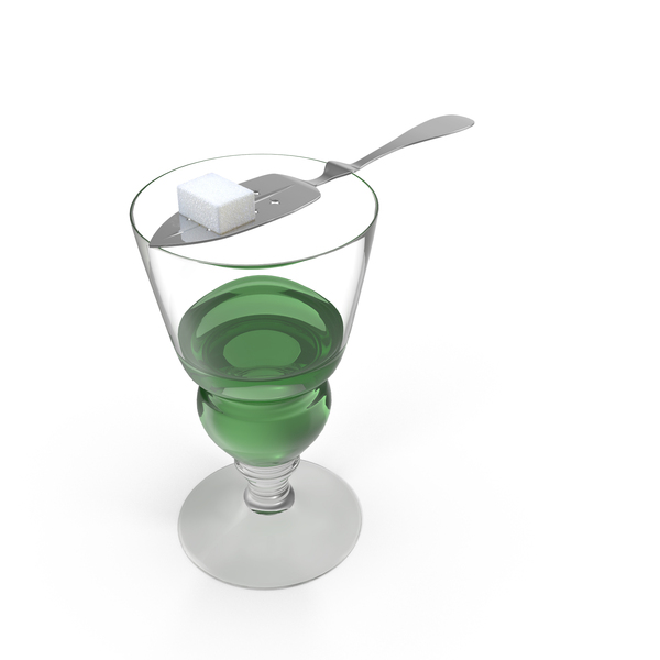 Absinthe Glass with Spoon PNG & PSD Images