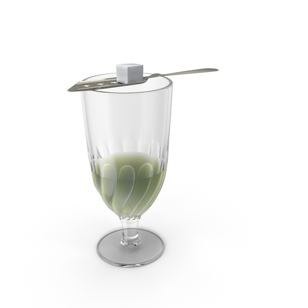 Absinthe Swirlglass With Spoon PNG & PSD Images