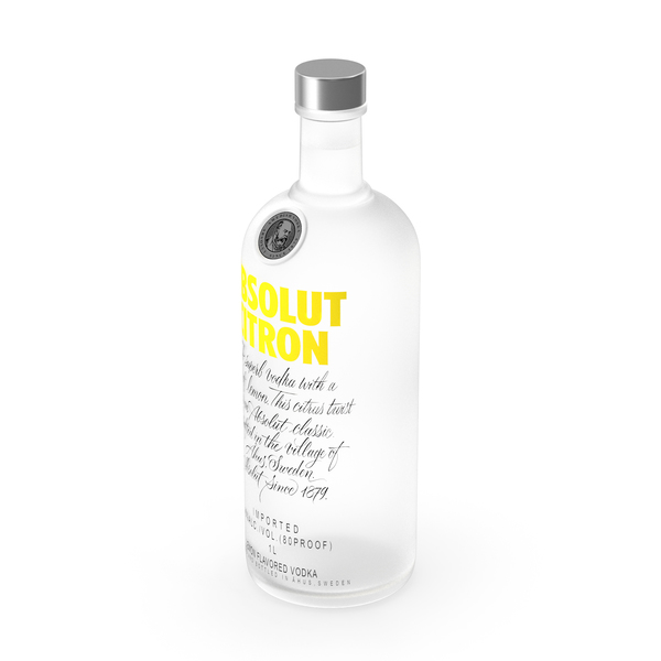 Absolut Citron Lemon Flavoured Vodka PNG & PSD Images