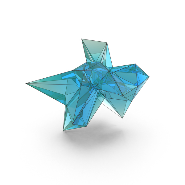 Sculpture: Abstract Glass Decorative Shape LowPoly PNG & PSD Images