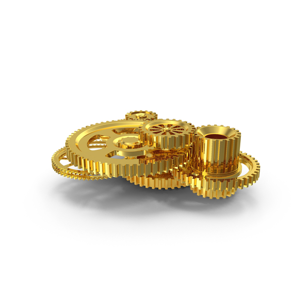 Clock: Abstract Gold Gear Mechanism PNG & PSD Images