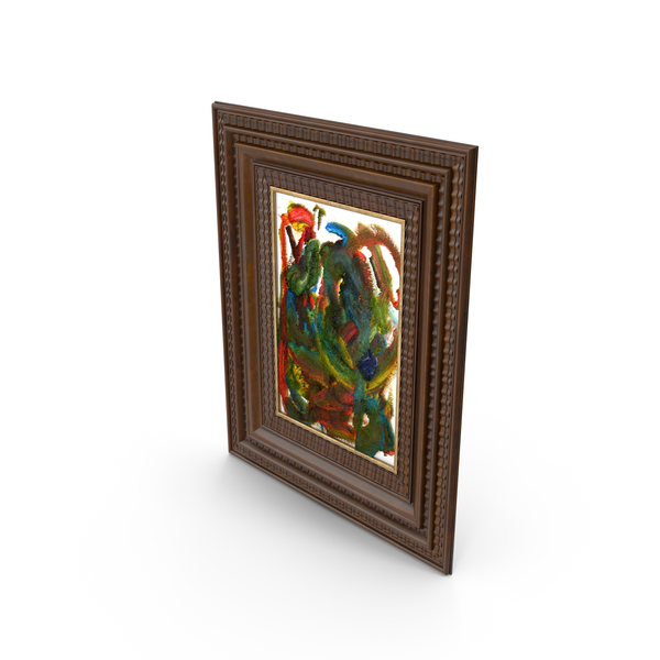 Abstract Painting in Wooden Frame PNG & PSD Images