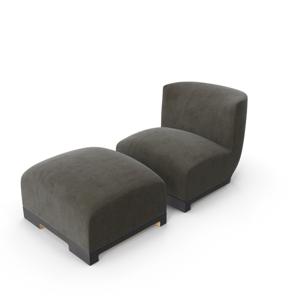 Achille Salvagni Vittoria Chair and Ottoman PNG & PSD Images