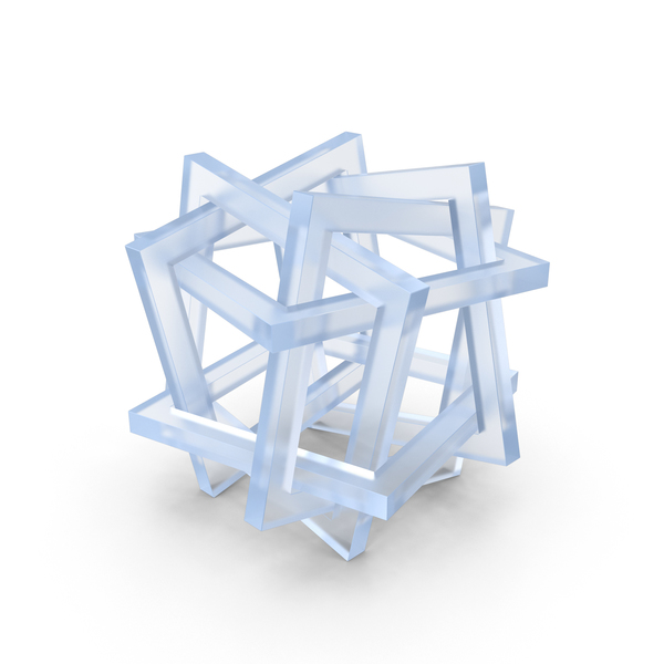 Acrylic Orderly Tangle Of Six Interlinked Squares PNG & PSD Images