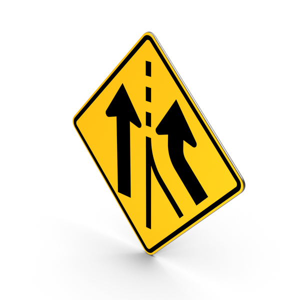 Traffic Signs: Added Lane Road Sign PNG & PSD Images