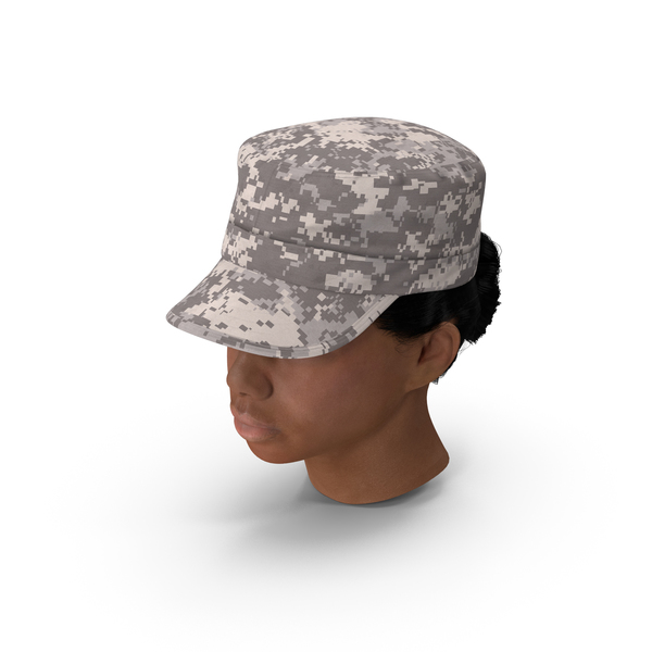 Woman: African American Female Soldier Head Fur PNG & PSD Images