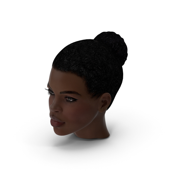 Afro American Woman Head Dark Skin PNG & PSD Images
