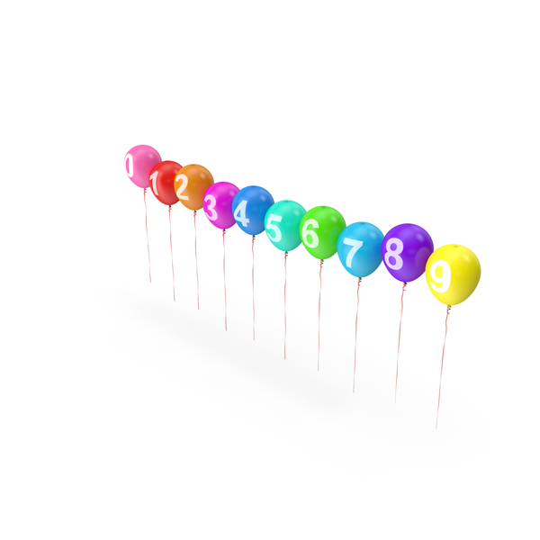 Number: Air Balloons Set with Numbers and Ribbons PNG & PSD Images