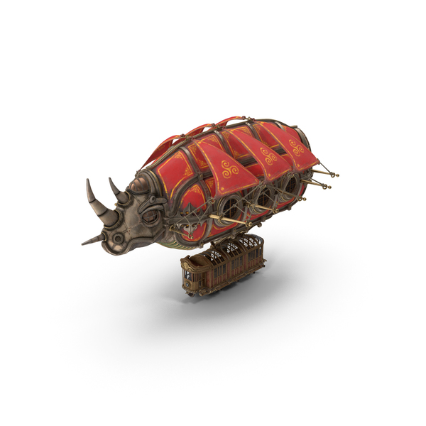 Airship Steampunk Rhinoceros PNG & PSD Images