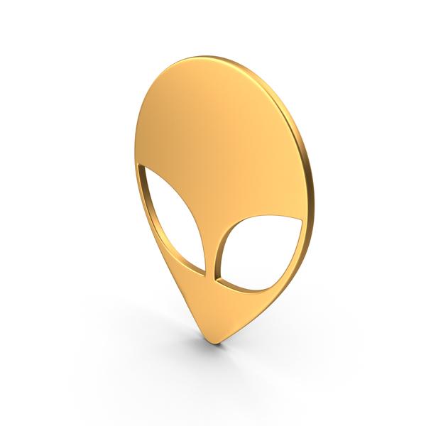 Alien Head Symbol Gold PNG & PSD Images