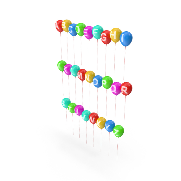 Roman: Alphabet on Balloons with Ribbons PNG & PSD Images