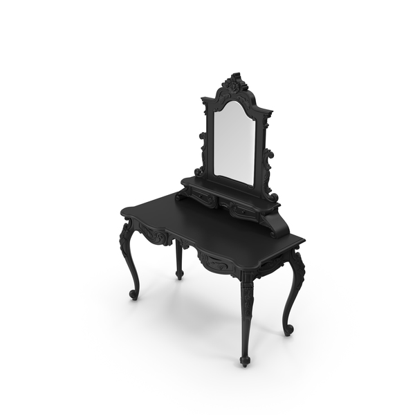 Vanity: Anais Dressing Black Table & Mirror PNG & PSD Images