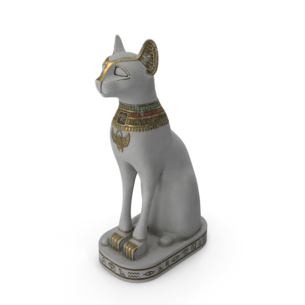 Ancient Egyptian Cat Statue White PNG & PSD Images