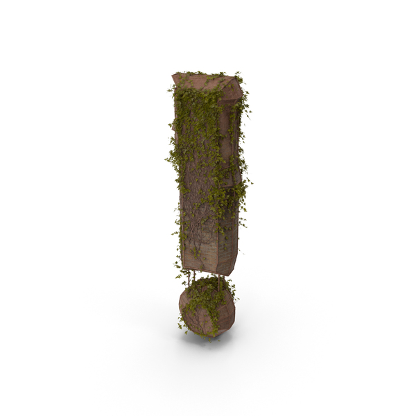 Ancient Stone with Ivy Exclamation Mark PNG & PSD Images
