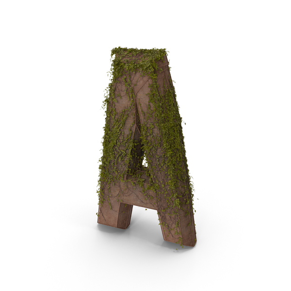 Language: Ancient Stone with Ivy Letter A PNG & PSD Images