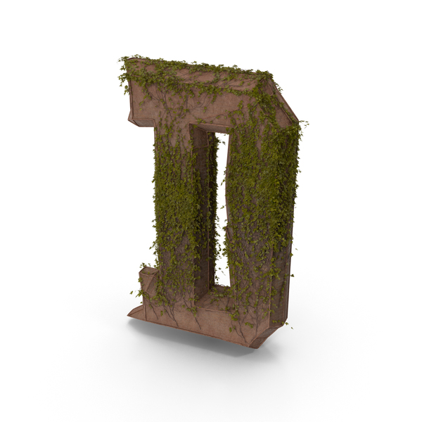 Ancient Stone with Ivy Letter D PNG & PSD Images
