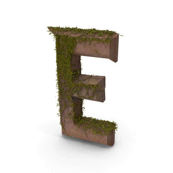 Ancient Stone with Ivy Letter E PNG & PSD Images