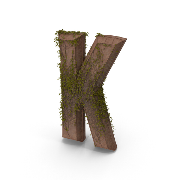 Ancient Stone With Ivy Letter K PNG & PSD Images