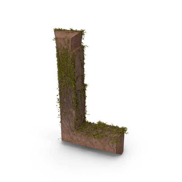 Ancient Stone With Ivy Letter L PNG & PSD Images