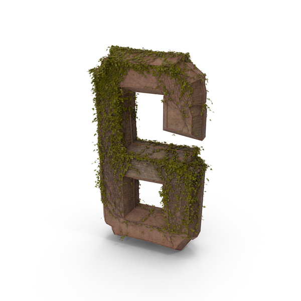 Ancient Stone with Ivy Number 6 PNG & PSD Images