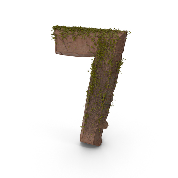 Ancient Stone with Ivy Number 7 PNG & PSD Images