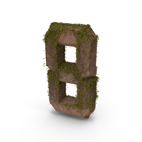 Ancient Stone with Ivy Number 8 PNG & PSD Images