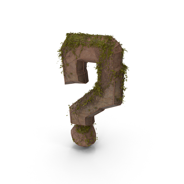 Ancient stone with Ivy Question Mark PNG & PSD Images