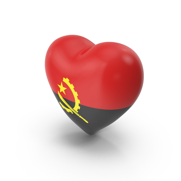 Angola Heart Flag PNG & PSD Images