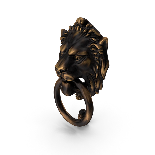 Antique Brass Lion Door Knocker PNG & PSD Images