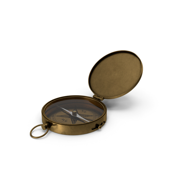 Antique Brass Pocket Compass PNG & PSD Images