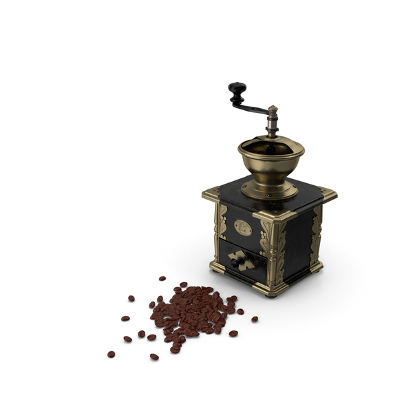 Antique Coffee Grinder with Coffee Beans PNG & PSD Images