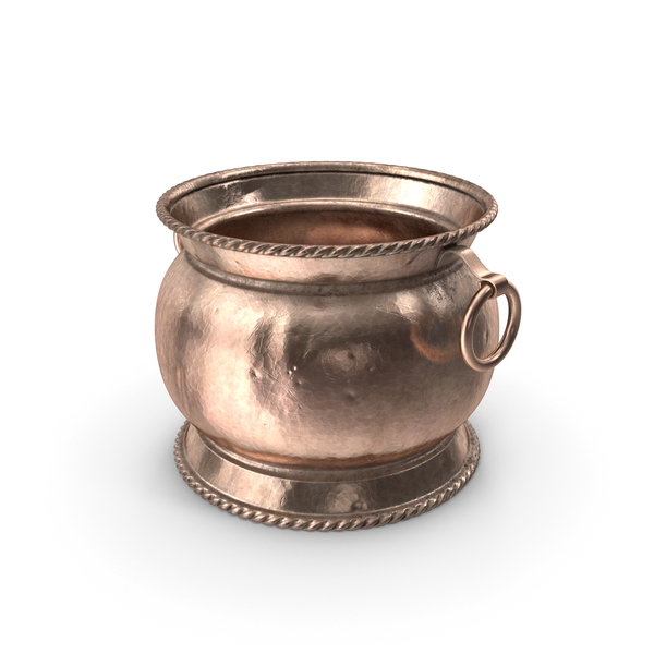 Cauldron: Antique Copper and Brass Jardiniere 19th Century PNG & PSD Images