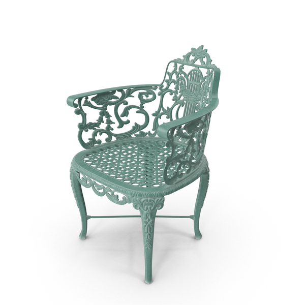Antique Victorian Cast Iron Rose Green Garden Chair PNG & PSD Images