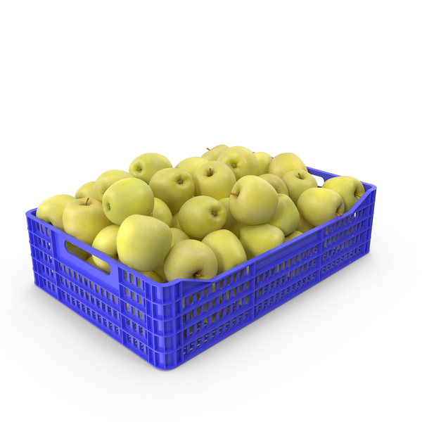 Apple Golden Plastic Crate PNG & PSD Images