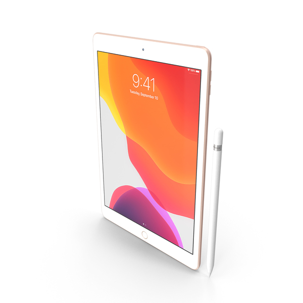 Apple iPad 10.2 Gold with Pencil PNG & PSD Images