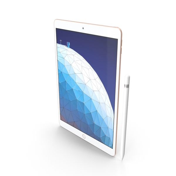 Apple iPad Air 2019 Gold with Pencil PNG & PSD Images