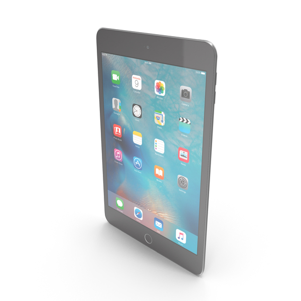 Tablet Computer: Apple iPad Mini 4 Space Gray PNG & PSD Images