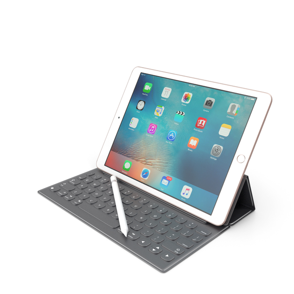 Apple iPad Pro 9.7 Rose Gold + Smart Keyboard + Pencil PNG & PSD Images