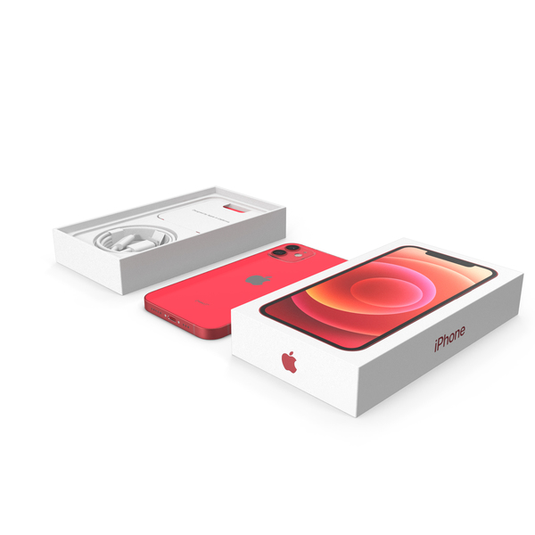 Smartphone: Apple iPhone 12 Unboxed Product RED PNG & PSD Images