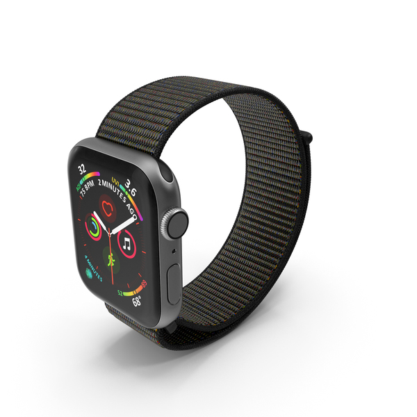 Apple Watch with Seashell Sport Loop Black PNG & PSD Images