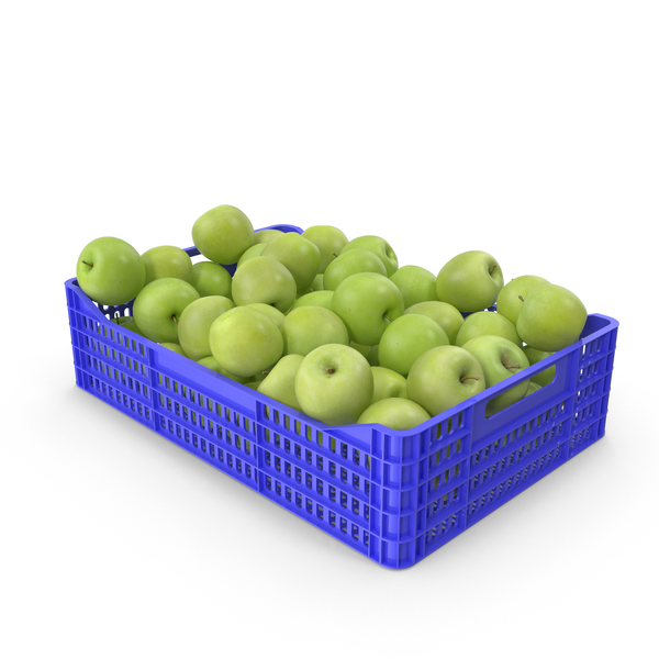 Apples Granny Smith in Plastic Crate PNG & PSD Images