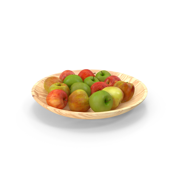 Fruit Basket: Apples With Wood Bowl PNG & PSD Images
