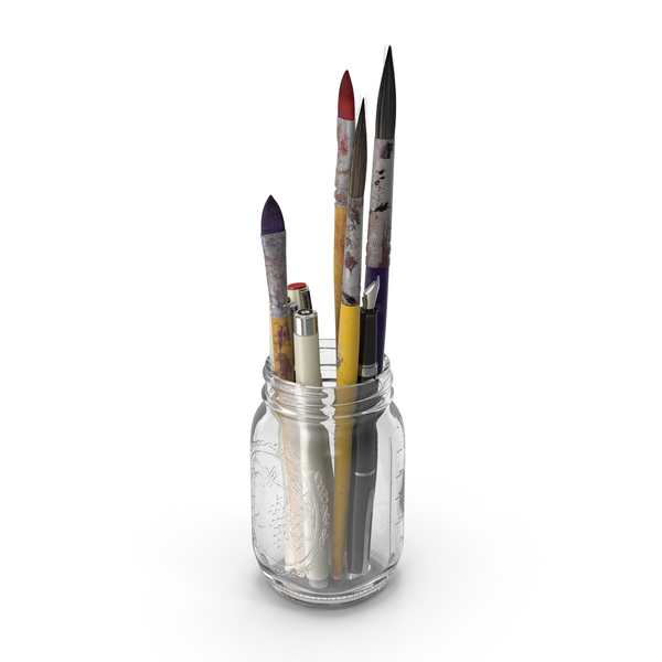 Artist Tools in a Mason Jar PNG & PSD Images
