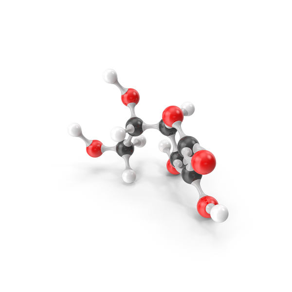 Ascorbic Acid (Vitamin C) Molecular Model PNG & PSD Images