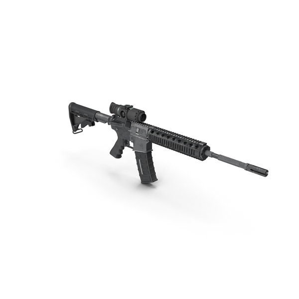 M16a1: Assault Rifle with Thermal Weapon Scope PNG & PSD Images