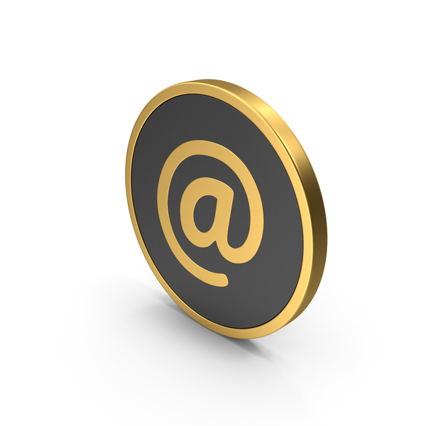 At Symbol Icon Gold PNG & PSD Images